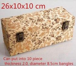 High End Rechteck 10 slot Lagerung Box für Armreif Holz Armband Box Verpackung Chinesische Seide Brokat Schmuck Sammlung Box 1 stücke