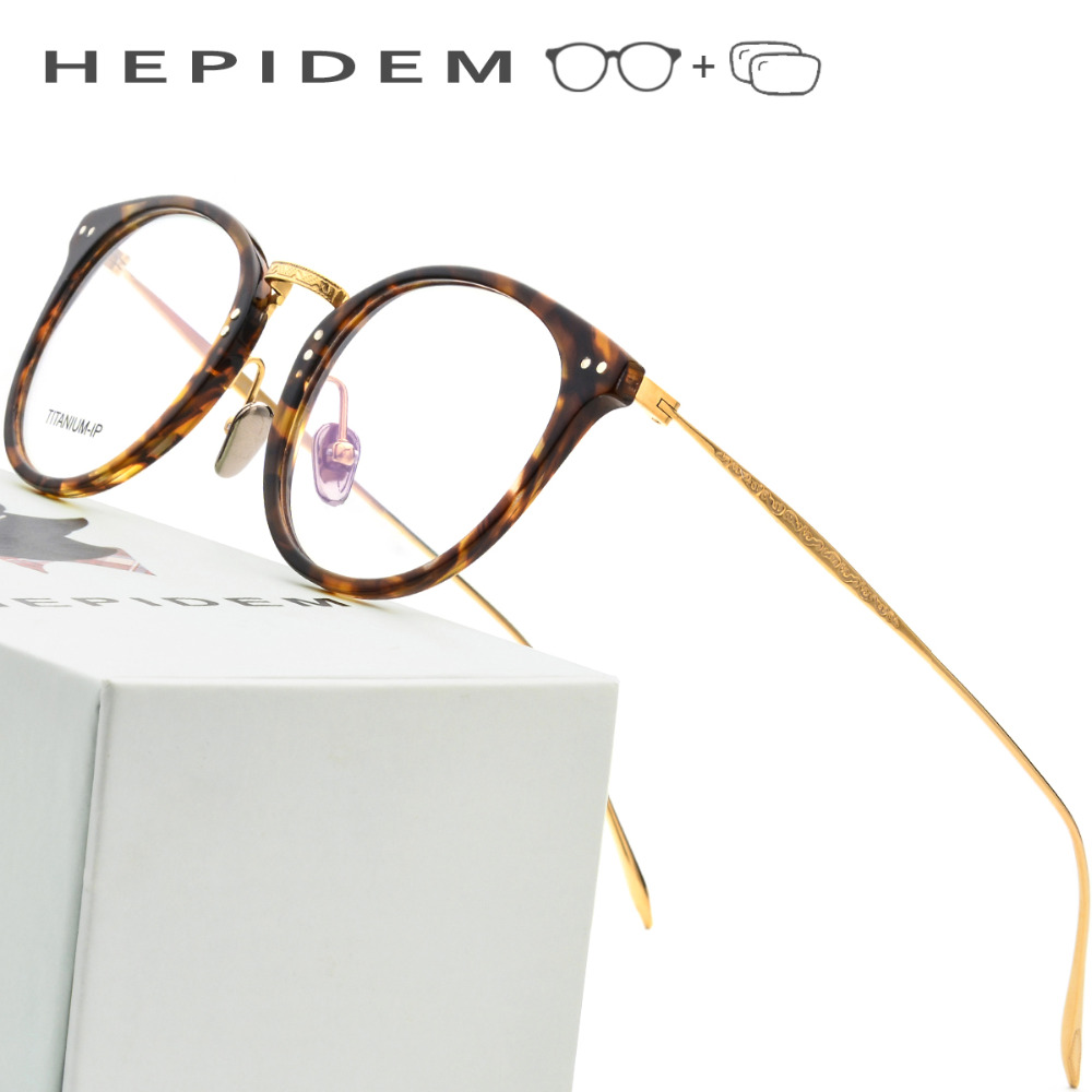 Pure Titanium Prescription Glasses Frame Men 2018 Vintage Round Ultralight Eyeglasses Myopia Optical Frame Women Acetate