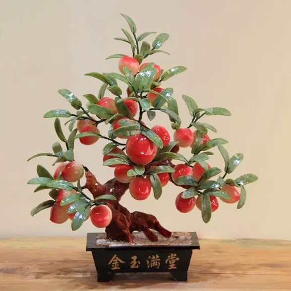 28 high-grade natural Topaz peach tree Home Furnishing Zhaocai decoration company opened a jewelry house floor decoration froggy builds a tree house