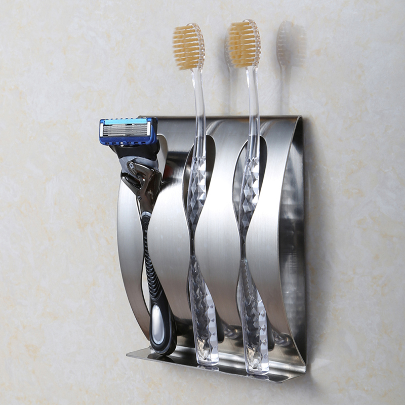 Stainless steel wall mount toothbrush holder 3 position Self-adhesive tooth brush Organizer box bathroom accessories image