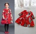 Primavera y Otoño Niños Coreanos Vestido de Media Manga de Señora de la Muchacha Con El Patrón De Pequeñas Flores