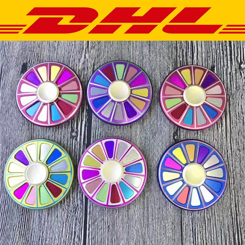 100Pcs/Lot Aviation aluminum turntable Colorful Round Finger Spinner Adults Anti Stress Relief Toy Autism ADHD EDC Hand Spinner ...