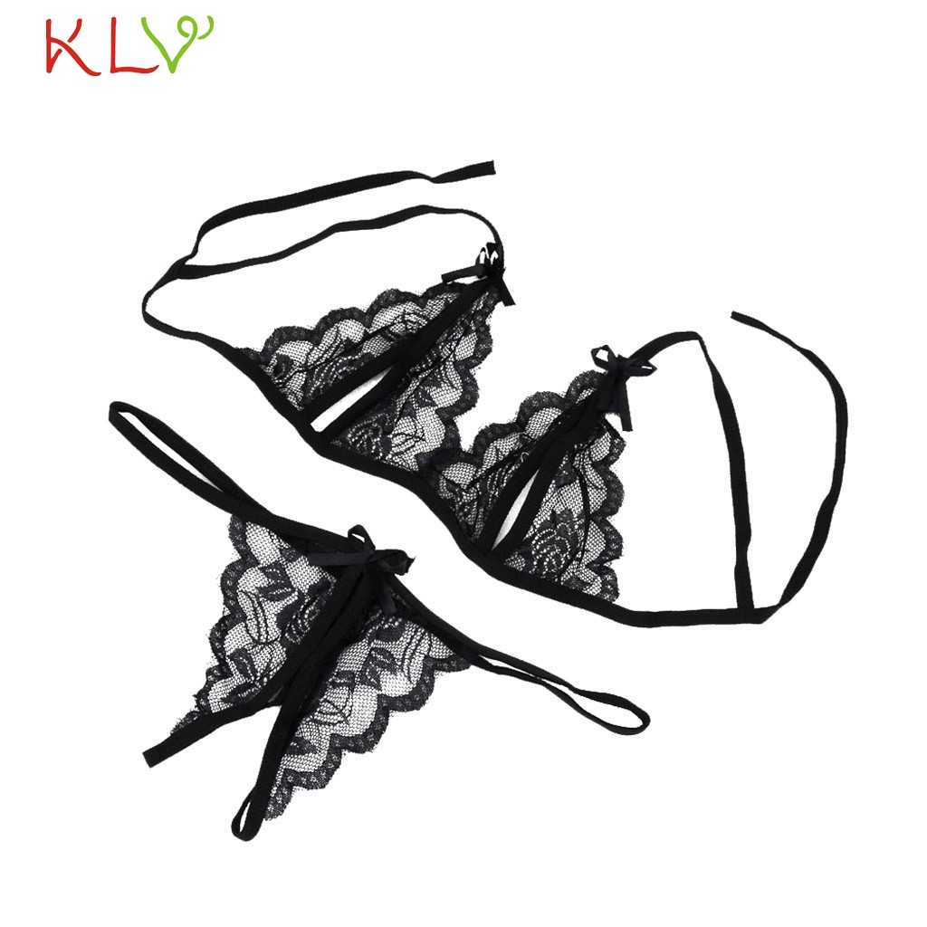 Ladies Underwear Sets Bra Women Lace Sexy G-string Lingerie Black Exotic Babydoll Bra Panty Conjunto Lenceria Mujer 18Jan15