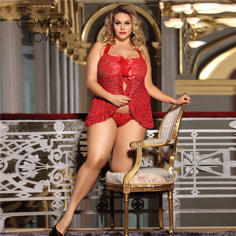 Comeonlover Sexy Underwear Women Erotic Sexi Porn Lingerie Red Heart Plus Size Sexy Lace Mini Dress Lingerie Nightwear RI80538 1