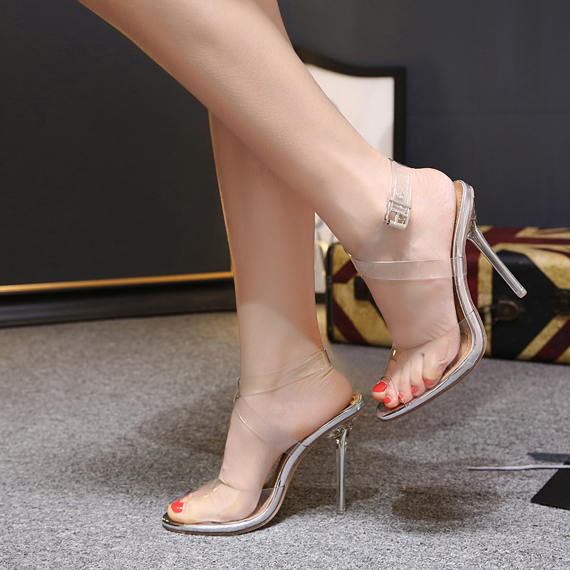 Women pumps Platform Sandals 12 CM Super High Heels Wedding Shoes open toe jelly transparent heel sandals clear women's shoes