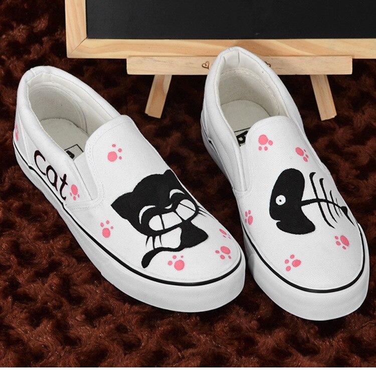 Chaussures pour enfants filles dessin animé peint à la main noir chat et poisson bas AB chaussures en toile étudiants pied plat chaussures décontractées peintes