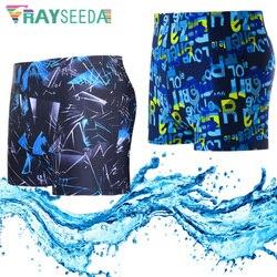 Rayseeda men verão calções de natação poliéster secagem rápida surf mergulho nadar breve praia sexy impressão colorida maiô