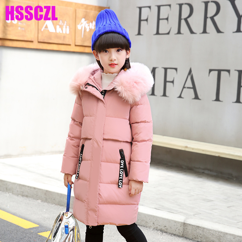 HSSCZL Girls Down Jackets 2017New Brand Winter Thicken Hooded Long Big Girl down Jakcet Children Coat Outerwear Overcoat Parkas fashion girl thicken snowsuit winter jackets for girls children down coats outerwear warm hooded clothes big kids clothing gh236