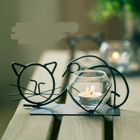 Retro Candlestick Wrought Iron Cat Candle Holders Furnishing Valentine's Day Candlelight Glass Holders Dinner Decorations