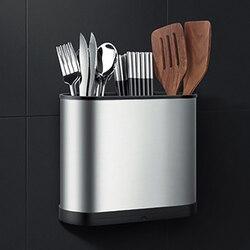 Łyżka ze stali nierdzewnej widelec stojak do przechowywania naścienny naczynia kuchenne uchwyt spustowy półka opakowanie na pałeczki pojemnik Box gospodarstwo domowe