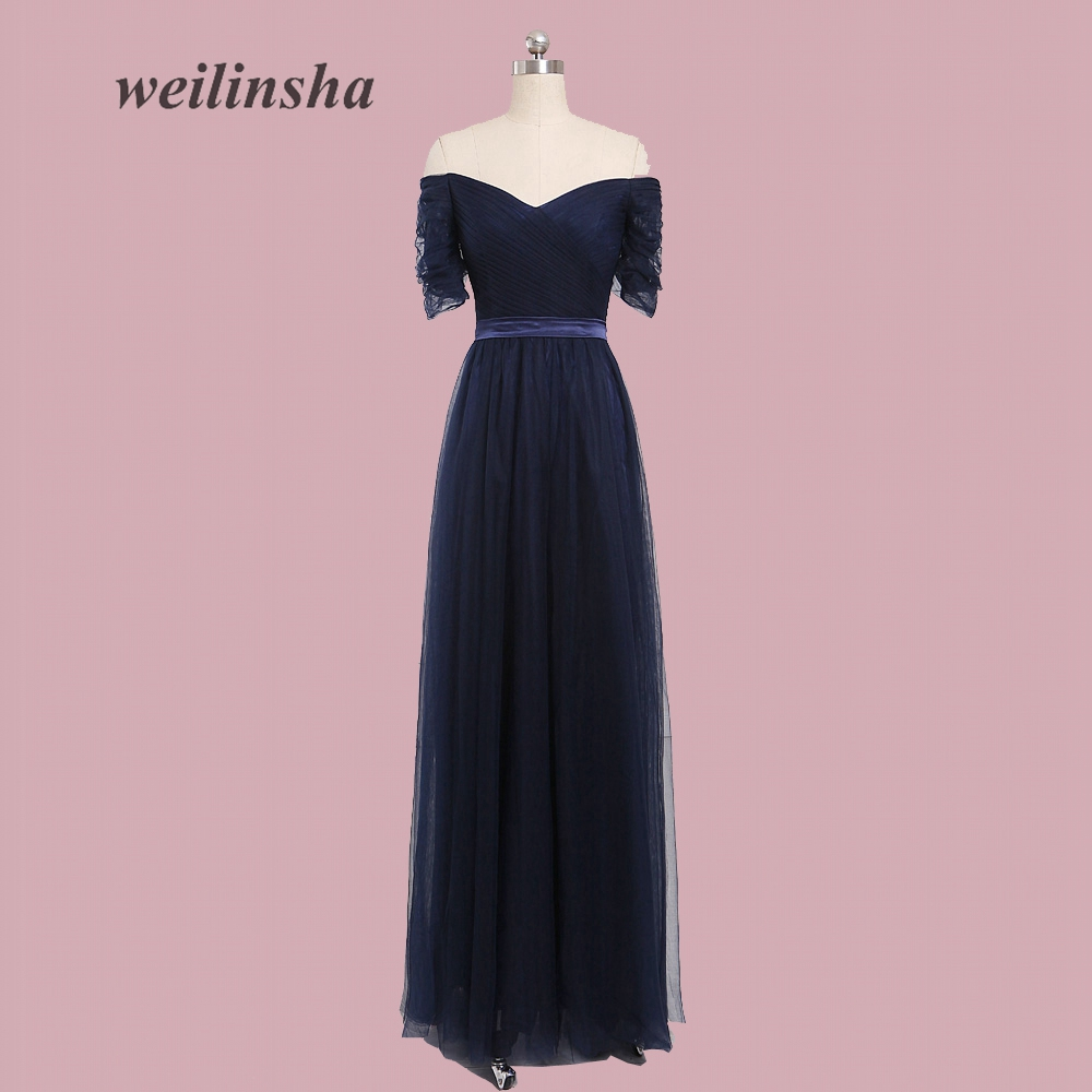 weilinsha 2017 Simple Summer Beach   Bridesmaid     Dresses   High Quality Tulle Wedding Party   Dress   Sexy Off-shoulder Prom   Dress