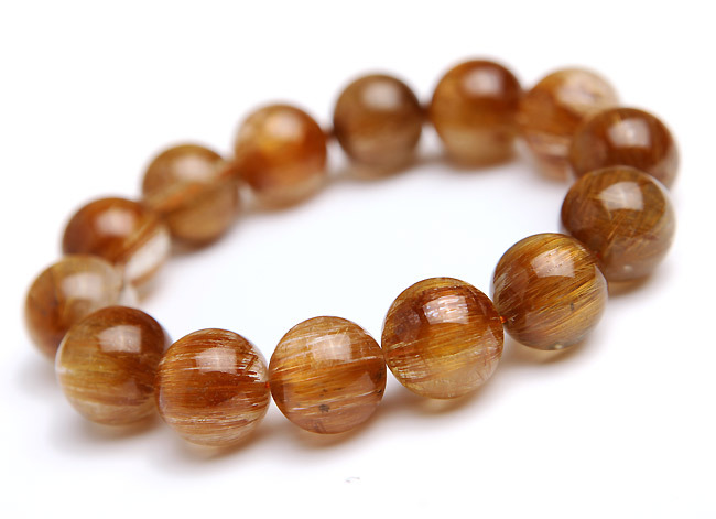 Brazil Natural Copper Hair Needle Rutilated Quartz Crystal Stretch Charm Clear Round Beads Powerful Women Mens Bracelet 17mm