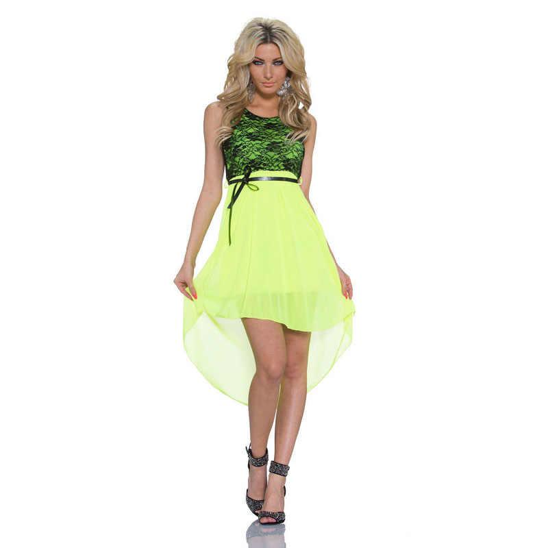 82c5d1bc536 2016 New Fashion Women Summer Sleeveless Patchwork Lace Dress Vestidos De  Fiesta Front Short Back Long