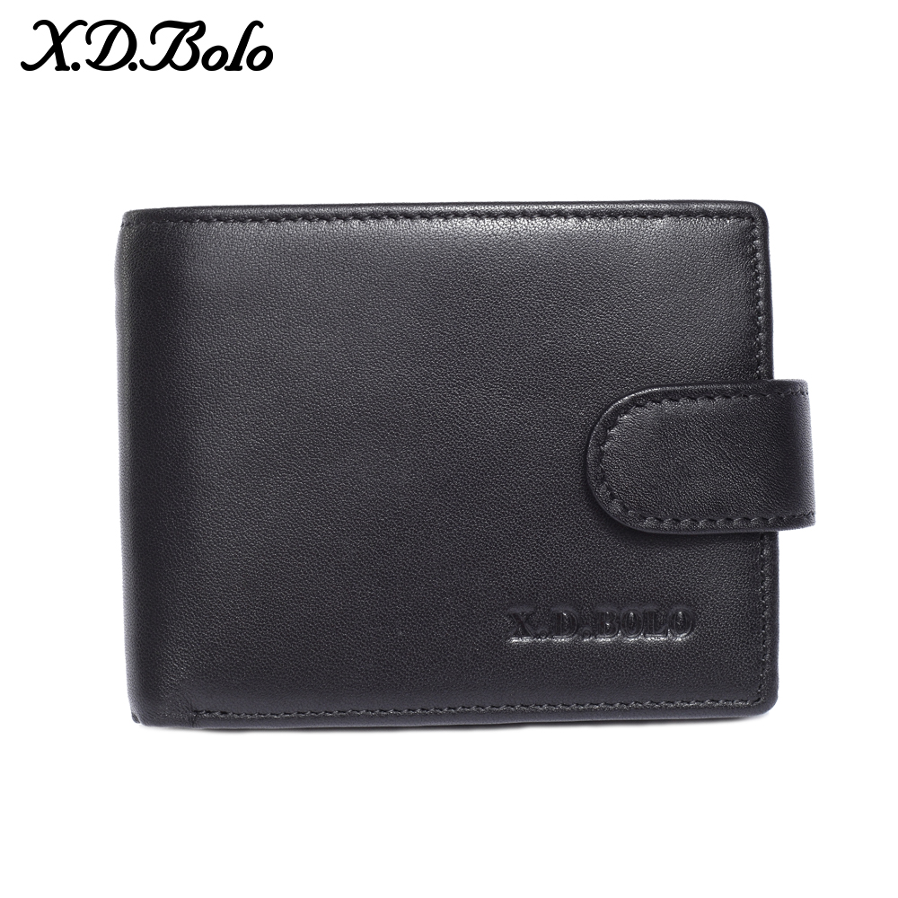 X.D.BOLO Men Wallets Genuine Cow Leather Short Wallet Male Purse Trifold Card Holder Leather Man Wallet with Coin Pocket
