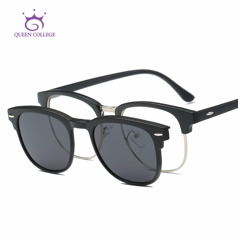 38c0cf0b83f Queen College Magnetic Clip Polarized Sunglasses Womens TR90 Frame Optiacal  Myopia Unisex Sun Glasses UV400 QC0510-in Sunglasses from Women s Clothing    ...