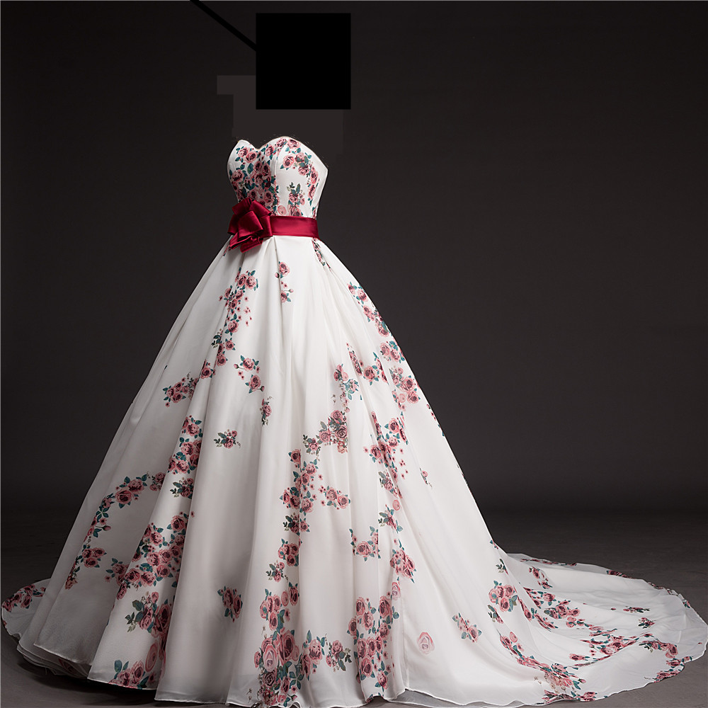 2016 New Floral Printed Wedding Dress Featured Bow Long Tail Wedding ...