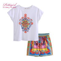 2017 Pettigirl Summer Girls Clothing Set White Short Skirt Print Flower Pants 2 pieces Outfit Suit CS90312-686 Fashion Exotic