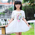 Top fashion girl dress princess 100% cotton short sleeve Embroidery dresses for girls 2015 summer new 110-160 free shipping