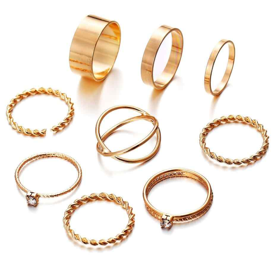 9 Pcs/Set Fashion Geometric Round Knuckle Rings Set For Women Vintage Twist Weave Finger Ring Female Jewelry Valentine's Gift
