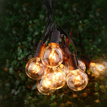 25Ft G40 Globe Bulb String Lights with 25 Clear Ball Vintage Bulb Indoor/Outdoor Hanging Umbrella Patio String Lighting Fixtures(China)