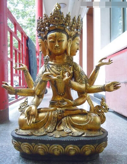 wholesale factory 32 China Tibet Bronze gild 4 heads 8 arms Mahapratisara buddha Sculpture Statuewholesale factory 32 China Tibet Bronze gild 4 heads 8 arms Mahapratisara buddha Sculpture Statue