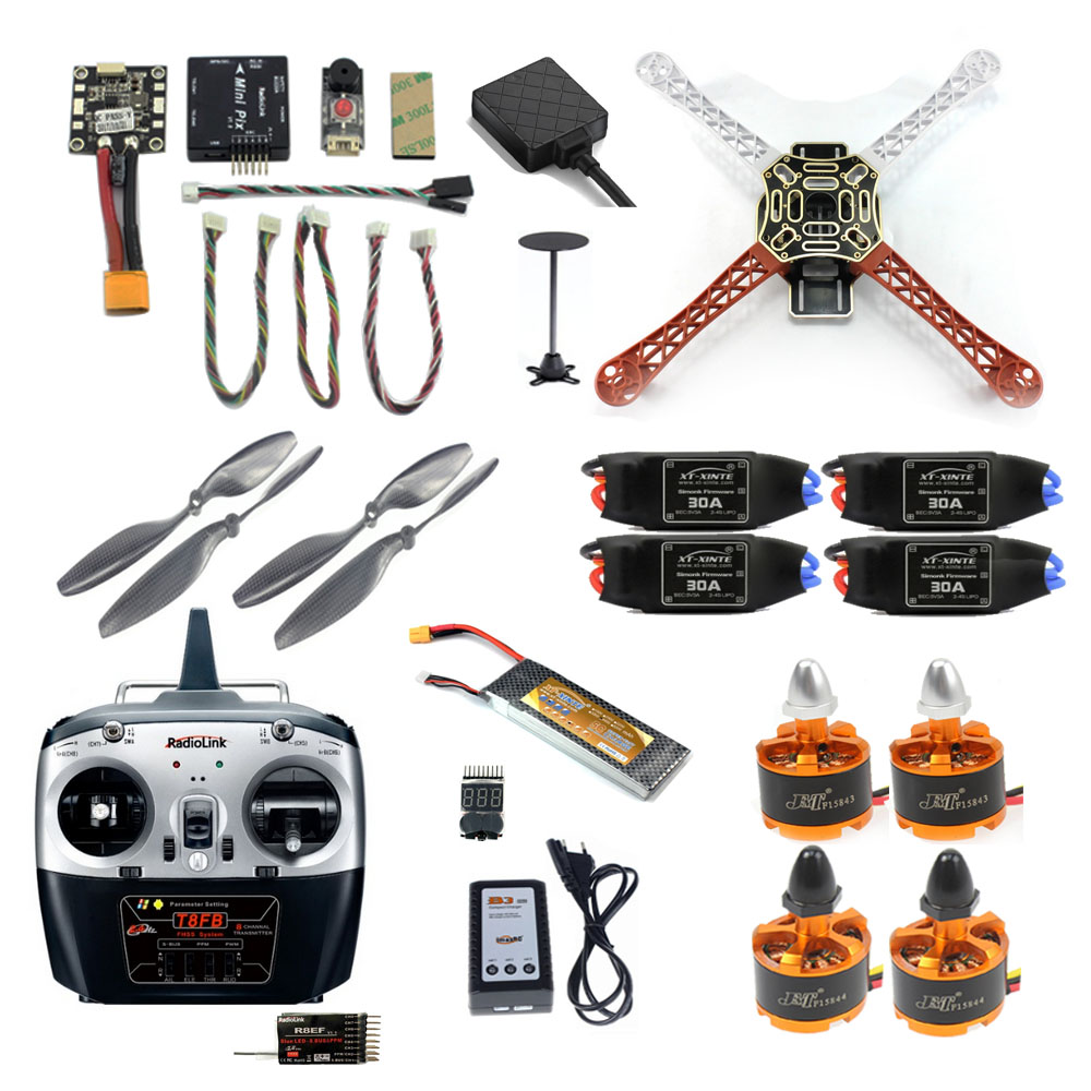 2.4G 8CH F450 Mini RC Hexacopter Unassemble Kits DIY Drone FPV Upgrade With Radiolink Mini PIX M8N GPS Altitude Hold Model
