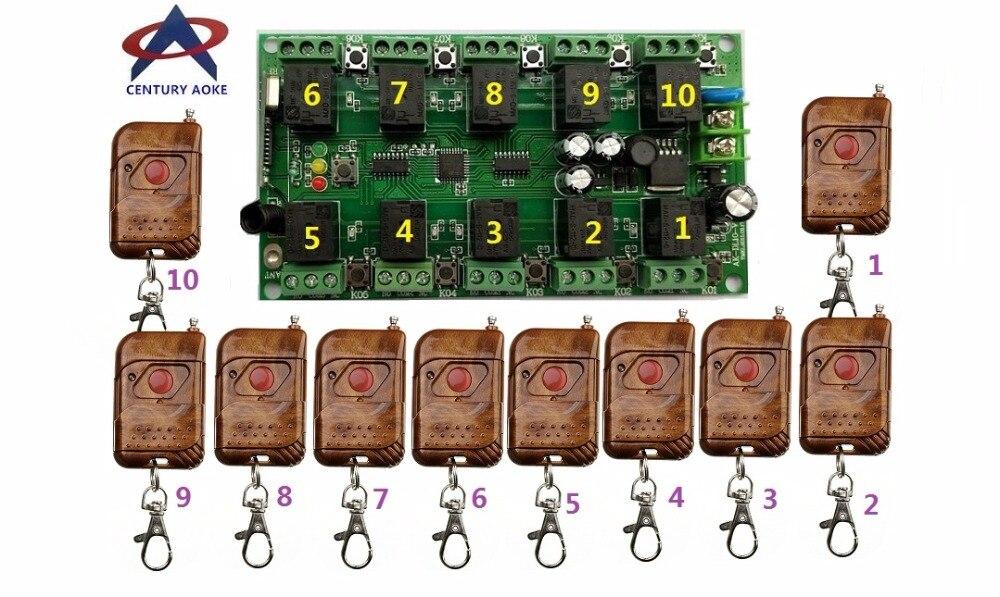 DC12V 10A 10CH RF système de télécommande sans fil 1 * 10CH récepteur + 10 * (TM01) émetteur individuel apprentissage code portes/lampe
