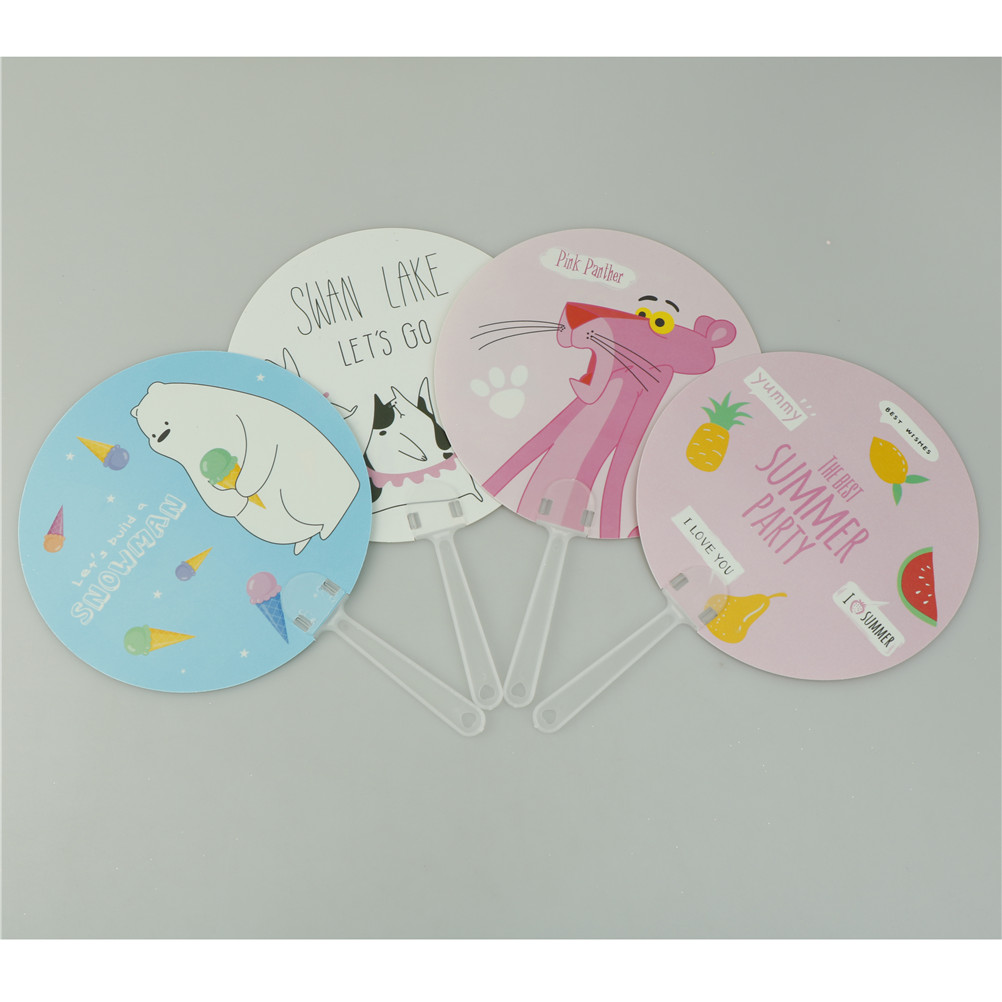 1PCS Cartoon Round Flamingo/Unicorn Theme Fans Summer Hand Fan Birthday Party Favors