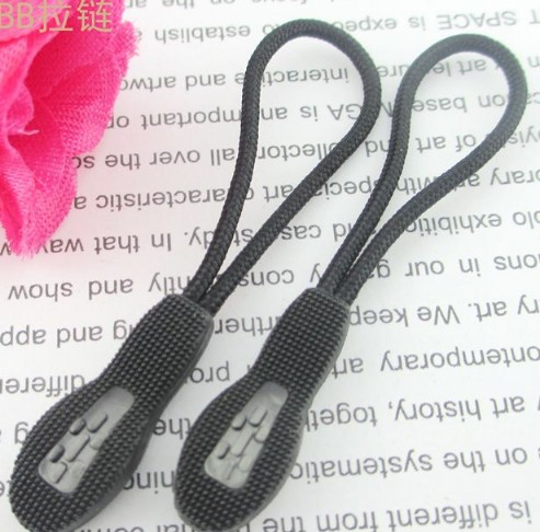 25 pcs/lot Plastic transparent Zipper Pull Cord*Zip Puller*Zip Fastener*zip slider*zipper replacement black free shipping