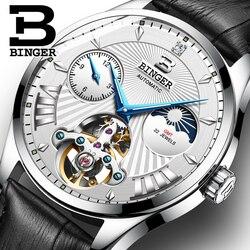 Szwajcaria mechaniczny zegarek mężczyźni Binger biznesmenów zegarki szkielet automatyczny zegarek na rękę wodoodporny Relogio Masculino 2018