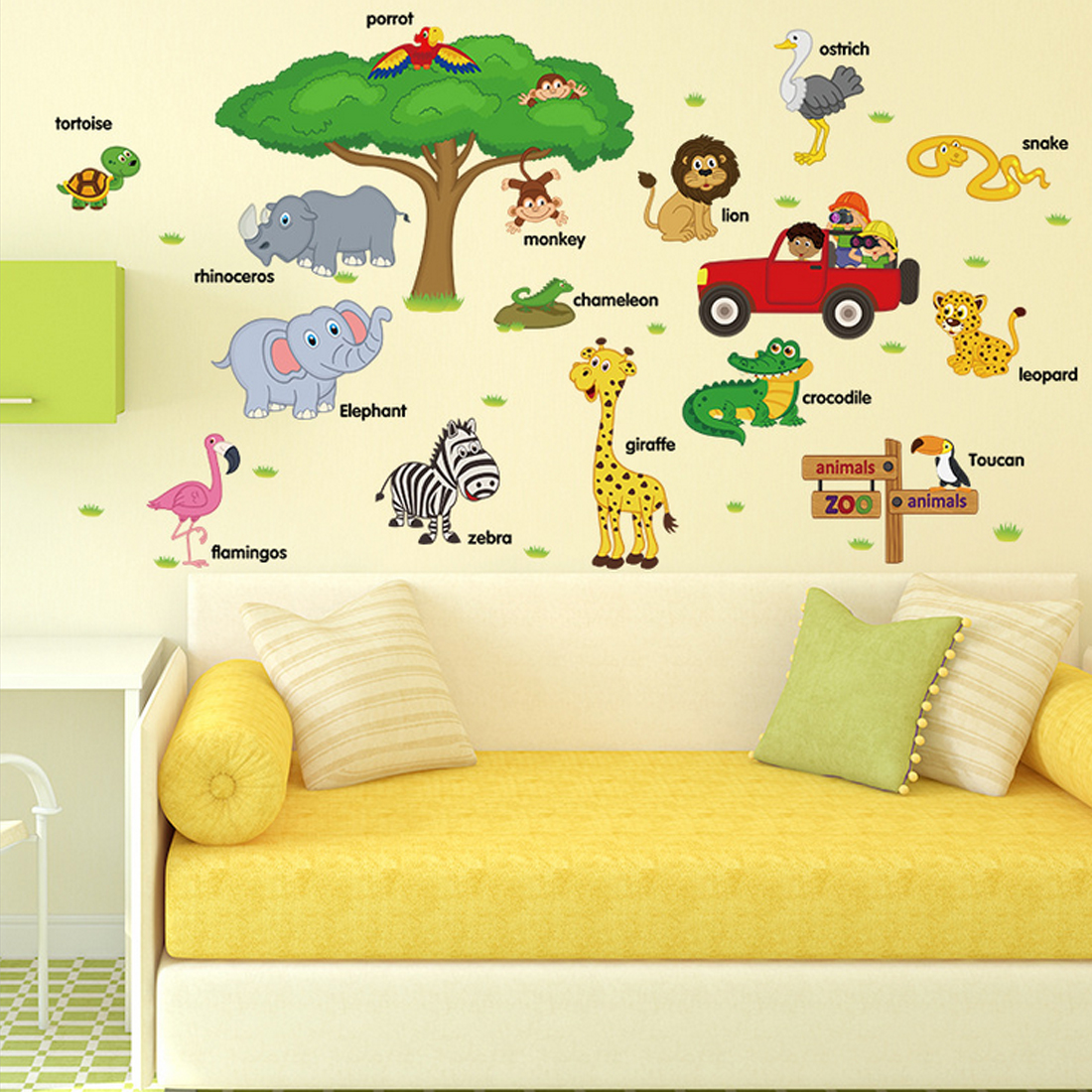 Hot English Animals Jungle Adventure Wall Stickers for Kids Baby ...