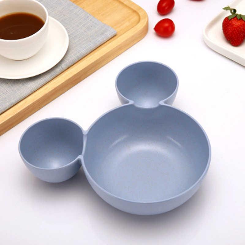 Cozinha criativa utensílios de mesa mickey tigela recipiente de alimentos frutas trigo palha tigela para crianças salada sopa arroz macarrão placa