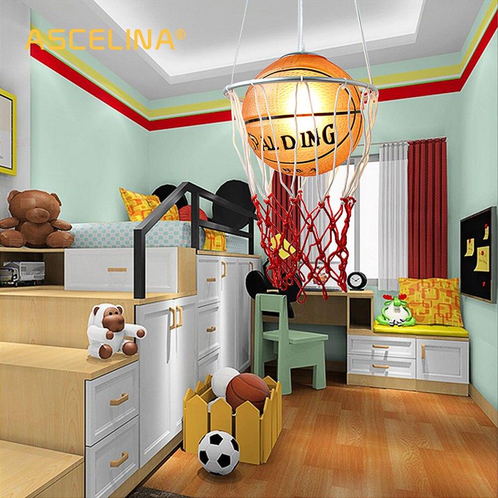creative children bedroom lights balcony Basketball pendant light LED lamp drop lamp E27 bedroom dining lampshade