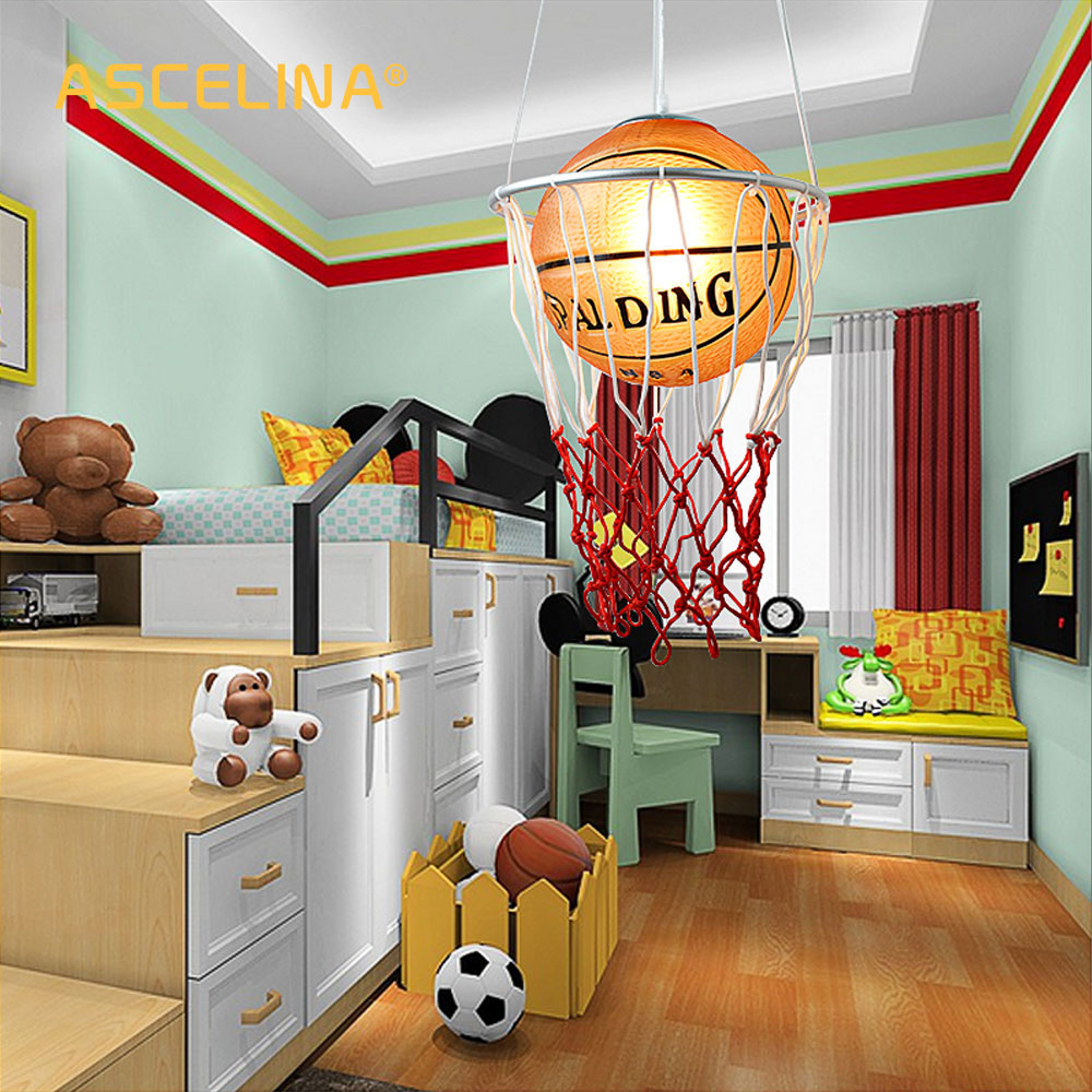 creative children bedroom lights balcony Basketball pendant light LED lamp drop lamp E27 bedroom dining lampshade for home