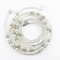 URIZONS Wired Headset Earphones For Ipod Iphone For Xiaomi Samsung White Beads Crystal Jewelry Pearl Necklace