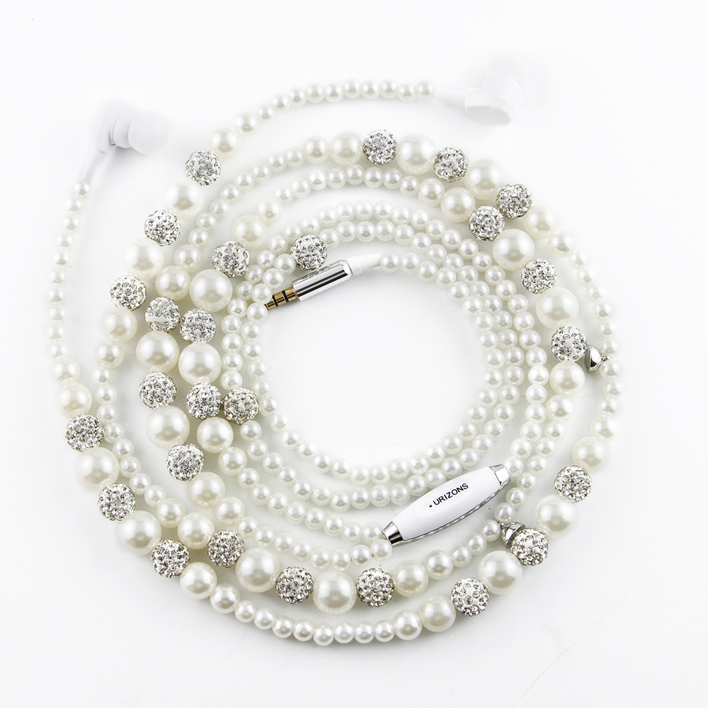 URIZONS wired In-ear Earbud White Beads Crystal jewelry Pearl Necklace bass earphones With Mic for all phone and android