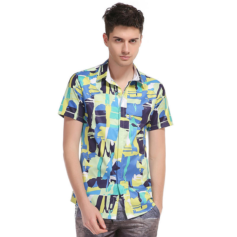 0ff5d82231c Men Hawaiian Shirt Beach Vacation Shirts Hawaii Party Male Summer Holiday  Splice Printing Fancy Casual Tops Hot Sale XS L 1113