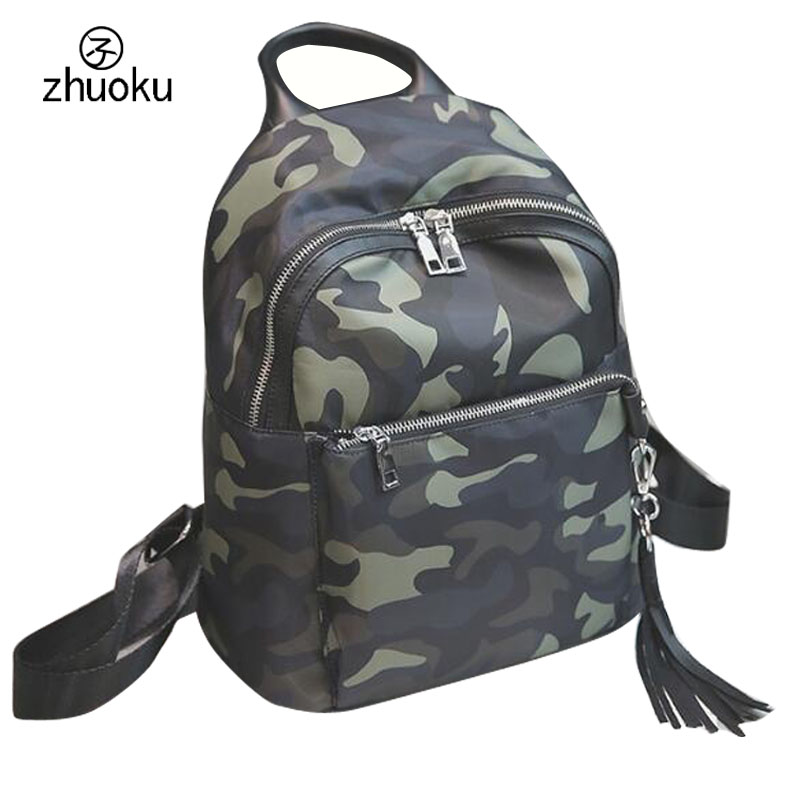 2017 Free shipping Good quality Small Backpack Camouflage nylon Backpack Tassel Rucksack school bags 15 25