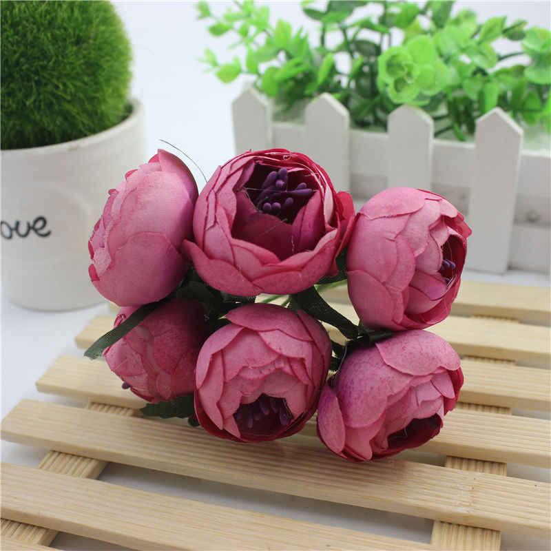 6 stücke DIY buddha girlande material Europäischen stil retro blütenknospe blume seidenblume braut kopfschmuck süßigkeiten box dekoriert blumen