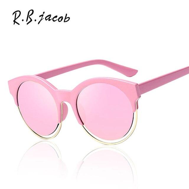 64004c58f Cat Eye Sunglasses Brand Designer Round Sunshades Semi-Rimless Women Fashion  Celebrity Rihanna Mirror Lady Sun Glasses Female