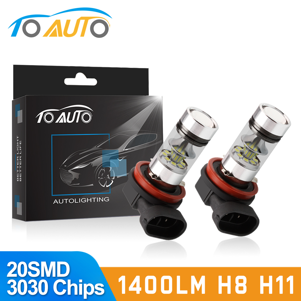 2pcs H11 H8 LED Fog Light Bulbs 9005 HB3 HB4 9006 Car LED Running Lights Auto Driving Lamp 12V  6000K White