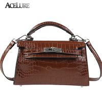 ACELURE New Vintage Women Tote Handbags Crocodile Pattern Lock Female Leather Crossbody Bag High Quality Mini