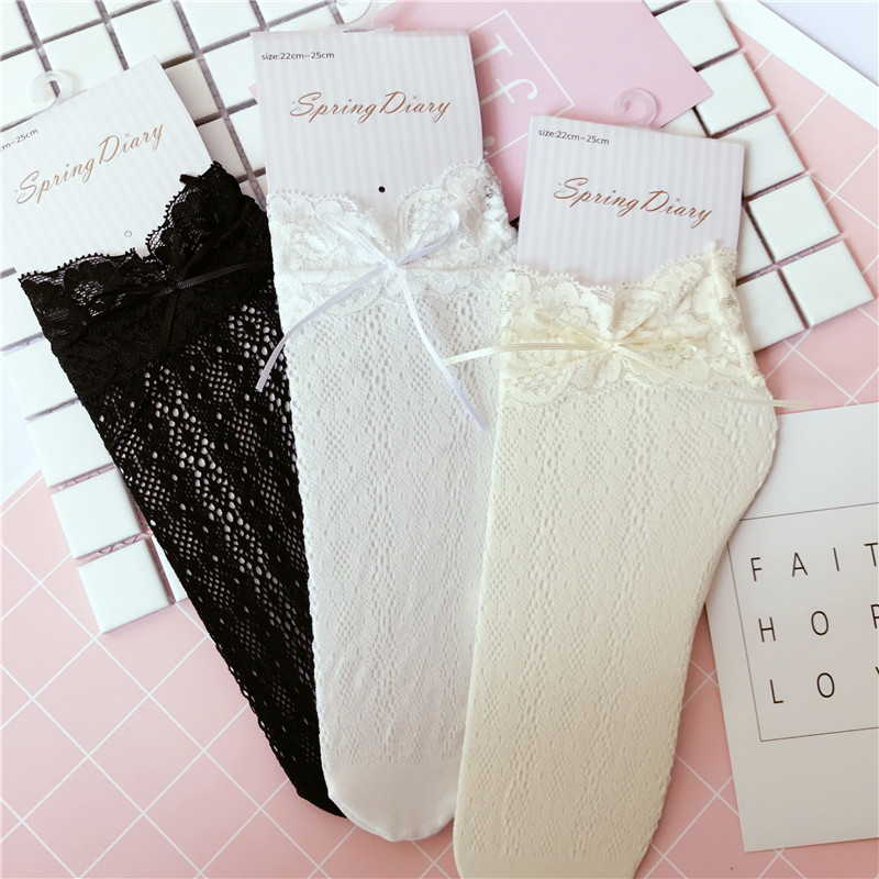 New Arrive Women Girls Lace Ruffle Frilly Ankle Strumpor med Bowknot Hollow Harajuku Härlig söt Vintage Retro Froral Lady Wedding