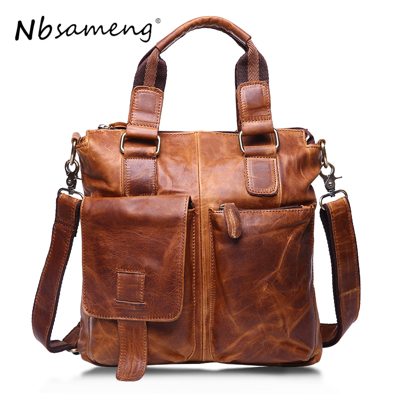 NBSAMENG Genuine Leather Bags Fashion Men Handbags Crazy Horse Leather Crossbody Bag Men's Travel Bags Briefcase Bag for Man famous brand men chest bags theftproof open fashion leather travel crossbody bag man messenger bag crazy horse leather bag chest
