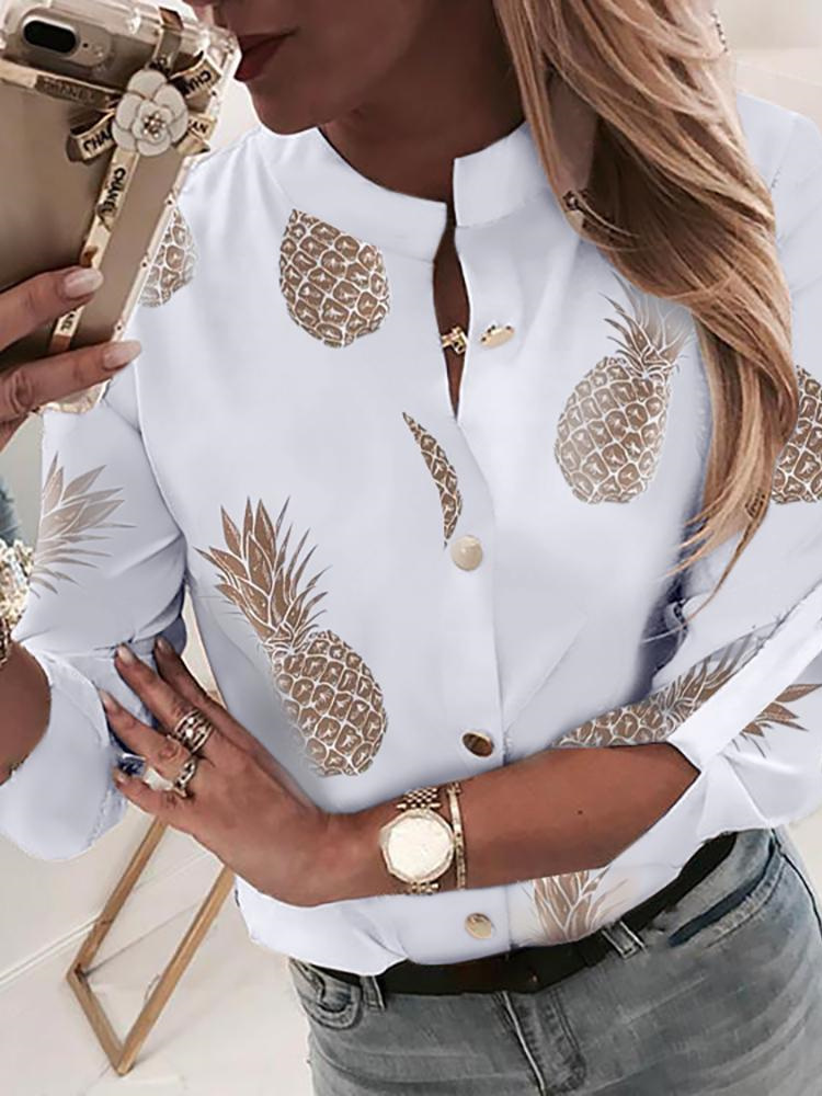 2019 Summer Women New Elegant Trending Leisure   Blouse   Female Vacation Office Top Chain Print Button Through Casual   Shirt