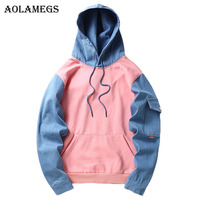 Aolamegs Hoodies Men Denim Patchwork Thick Hoodie Pullover Hooded Fashion Hip Hop Streetwear Sweatshirts Couple Autumn