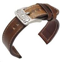 New 20mm 22mm Vintage Genuine Leather Watchbands Black Dark Brown Men Watch Strap Bracelet With Stainless
