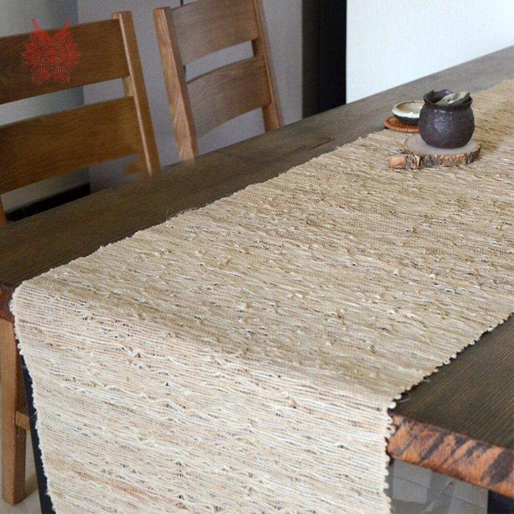 Europeu do vintage bege ramie linho seaving mesa corredores decoração de casa chemin de mesa tafelloper toalha caminho de mesa sp5238