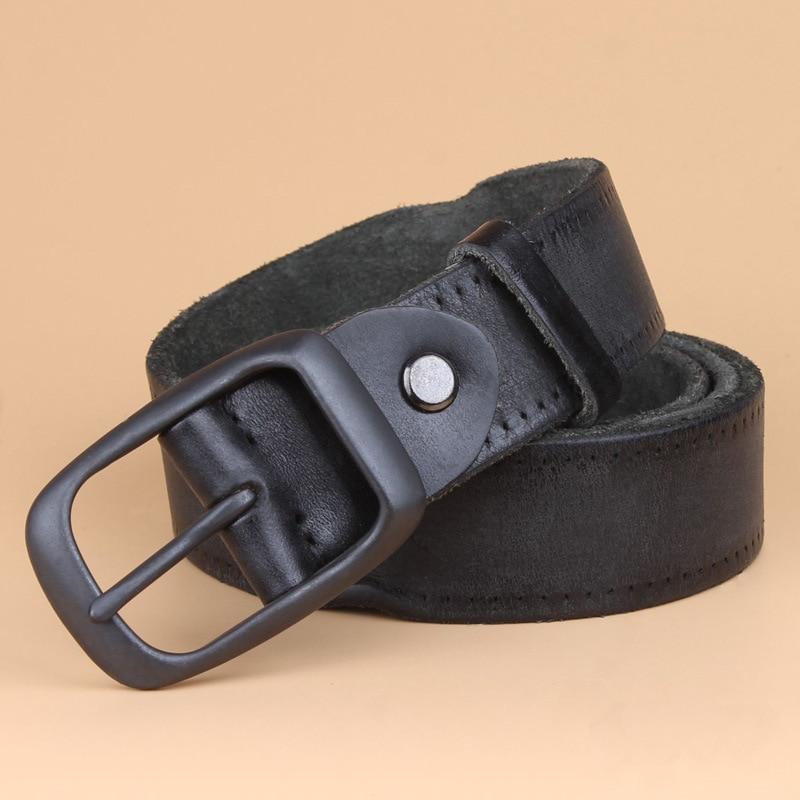 Los hombres de cuero natural genuino masculino mens jeans Pin hebilla cinturones  para hombres cinturón hombre negro ceinture homme primera capa hombre en ... d62d91688547