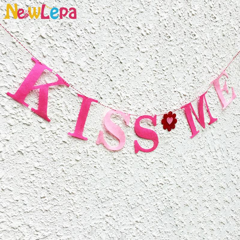 Tela gruesa no tejida de color rosa KISS ME Heart Personalizar Banner - Para fiestas y celebraciones